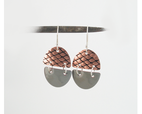 Gray Art Deco Copper Enamel Dangle Earrings