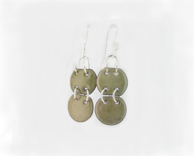 Olive green copper enamel dangle articulated earrings