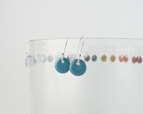 Tiny Turquoise Copper Enamel Dots