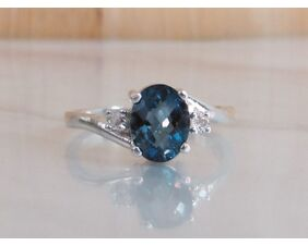 London Blue Topaz Promise Ring in Sterling Silver