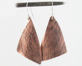 Handmade Large Copper Triangle Lace impressed lightweight Boho Earrings