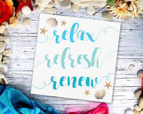 Relax Refresh Renew Beachy Wood Sign