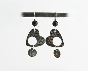 Silver Heart and Black Onyx Articulated Earrings