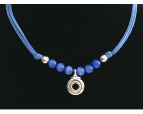 Artisan jewelry for the flutist.  Beautifully designed with silver French flute key (open hole key) with silver beads to enhance the lovely key.  Artist chose blue glass beads and a lighter color suede cord to finalized their creations.  A great gift for ANY occassion.  Additionally, the key is placed as a pendant for all to wear.
