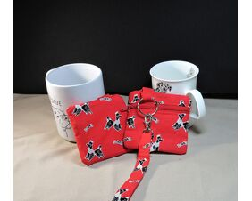 dog poop bag holder and dog training treat pouch black and white poodles on red fabric