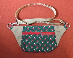 gnome and mushroom bum bag fanny pack red zipper gnome charm up to 50 inch green and red print