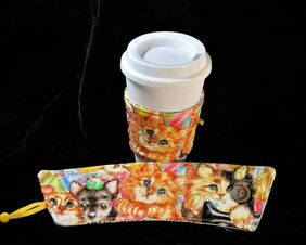 puppy and kitten drink sleeve beverage koozie coffee mug holder chihuahua