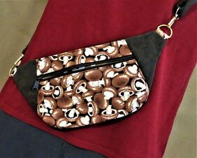 fanny pack bum bag waist pack belt pack mushrooms and suede