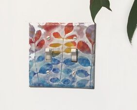 Double Light Switch Cover Plate Leaves over Sunrise Copper Enamel