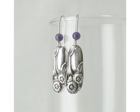 Petite Silver & Amethyst Flower Drop Earrings