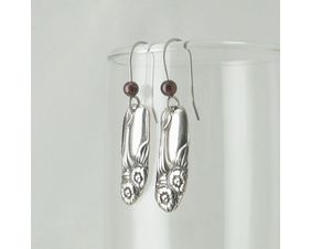 Petite Silver & Garnet Flower Earrings