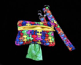 autism awareness dog poop bag holder with wristlet and free roll of bags