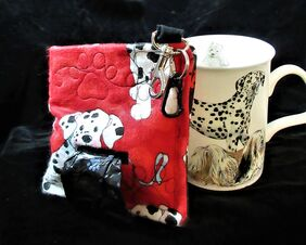 A fur baby favorite unique dog poop bag holder dalmatians paw print quilted bones and hearts on black