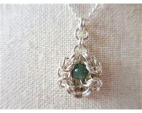 Byzantine Flower Pendant Necklace in Romanov Weave