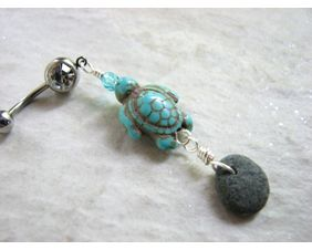 Natural beach stone and sea turtle belly ring