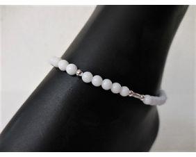 Mountain Jade and Sterling Anklet or Bracelet with Adjustable Sliding Knot