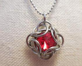 Stainless Steel and Crystal Chainmaille Pendant Necklace