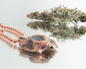 "Chunky solid copper forged nugget pendant with vitreous enamel glass, on 24"" copper ball chain."