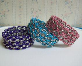 Chainmaille Helm Weave Cuff Bracelet, Stretch, Assorted Pastel Colors