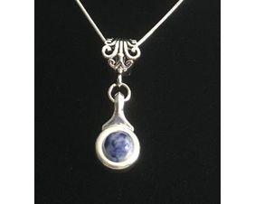 "Beautiful Blue Jasper stone is viewed on a flute trill key.  A fleur de lis bail on a  16"" silver plated snake chain."