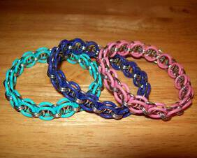 Chainmaille Helm Weave Bracelet, Stretch, Assorted Pastel Colors