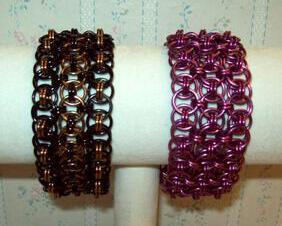 Chainmaille Helm Weave Cuff Bracelet - Triple Row