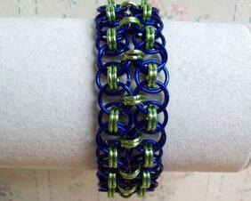 Chainmaille Helm Weave Cuff Bracelet, Double Row