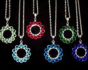 Chainmaille Ferris Wheel Pendant Necklace, Assorted Color Choices