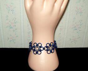 Chainmaille Flower Bracelet, Japanese 12 in 1 Style, Royal Blue with Silver