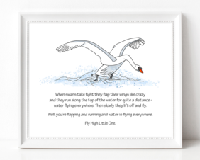 White Swan Illustration with Poem