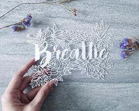 "handcut paper art ""breathe"" floral papercutting by Yang Cuevo of Paperhugger Studio"