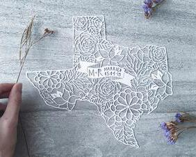 custom paper cutting map of Texas, personalized wedding gift
