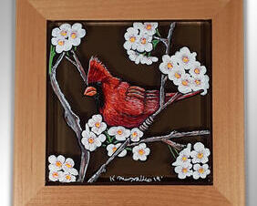 Hand Painted Cardinal Wall Tile