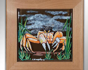 Hand Painted Ghost Crab Wall Tile