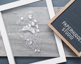 engagement gift, personalized papercut map, paper cutting art