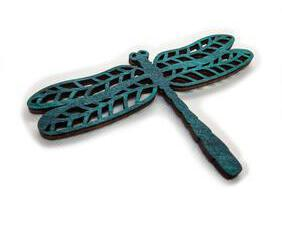 Hand painted wooden dragonfly fridge magnet, available in multiple colors