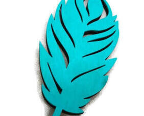 Turquoise Hand painted wooden feather magnet