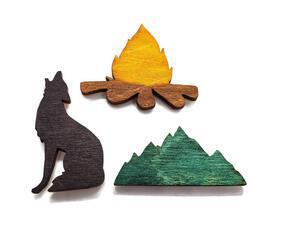 Set of 3 Summer rustic wildlife magnets: Campfire, howling wolf, mountains