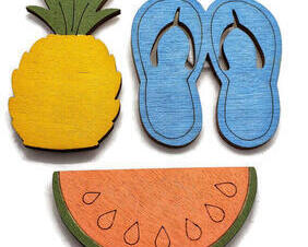 Set of 3 Summer magnets. Tropical Pineapple, flip flops, watermelon slice. Available in multiple colors.