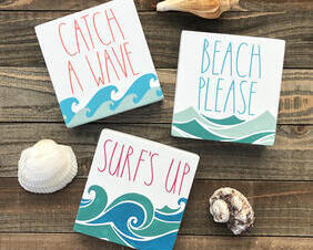 Whimsical Waves Mini Wood Signs, Catch A Wave, Beach Please, Surf's Up