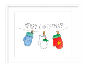 Christmas Mittens Watercolor Illustration