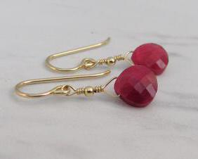 Genuine Ruby Drop Earrings in Gold