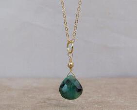 Natural Emerald Necklace 14K Gold Filled