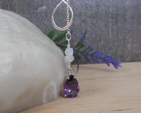 Alexandrite Lariat Necklace with Moonstone