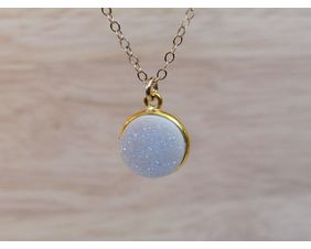 Druzy Crystal Necklace 14K Gold Filled