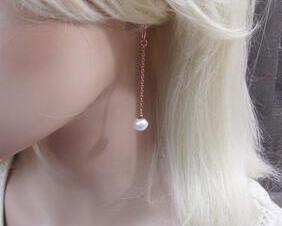 Pearl Drop Earrings in Rose Gold