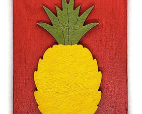 Hand Painted wood Pineapple Magnet