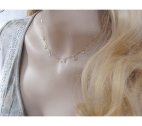 Dangling Pearl Choker Necklace in Gold or Rose Gold
