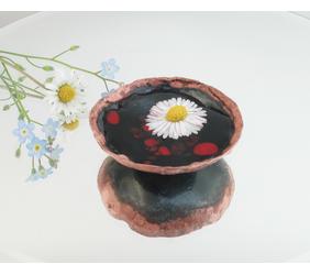 Mini 1-3/4 inch Enameled Copper Art Nouveau Bowl for a Treasure or Keepsake