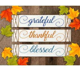 Grateful, Thankful, Blessed, Fall Wood Signs w/twine